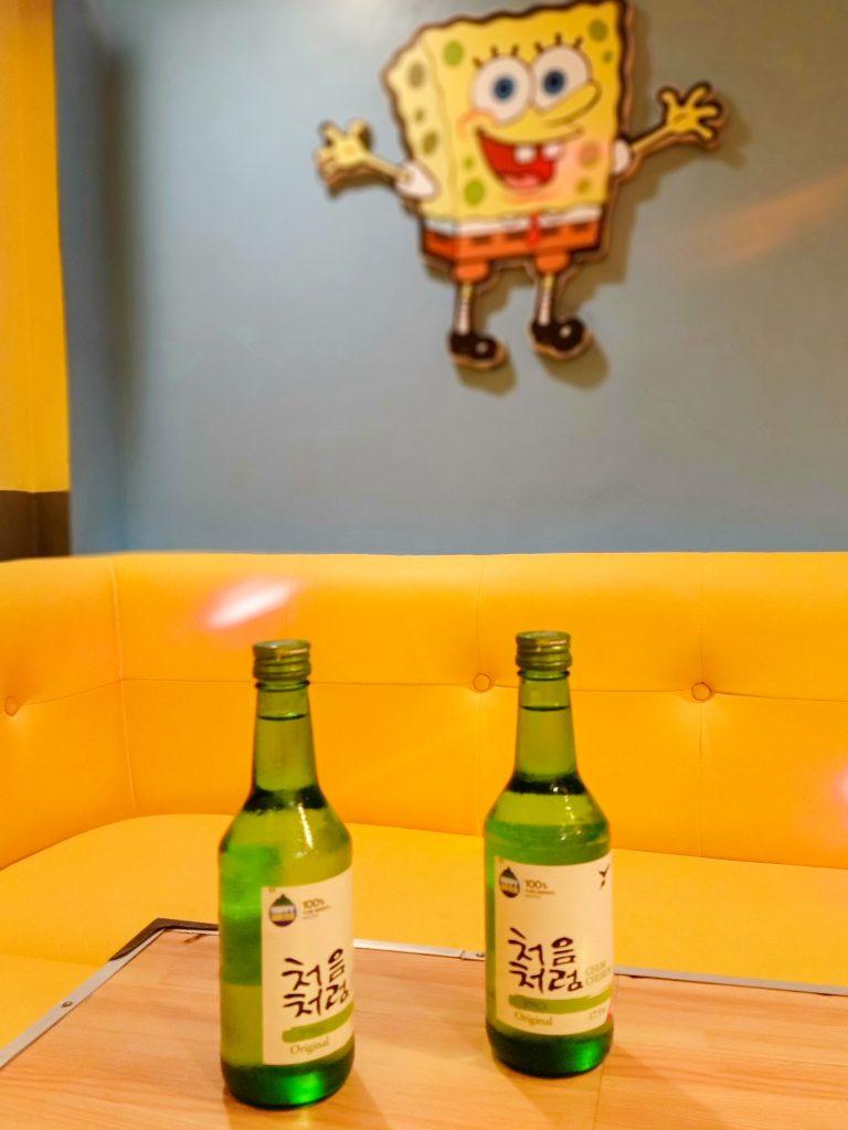 """ALT=""""spongebob themed ktv room at a korean restaurant"""""""