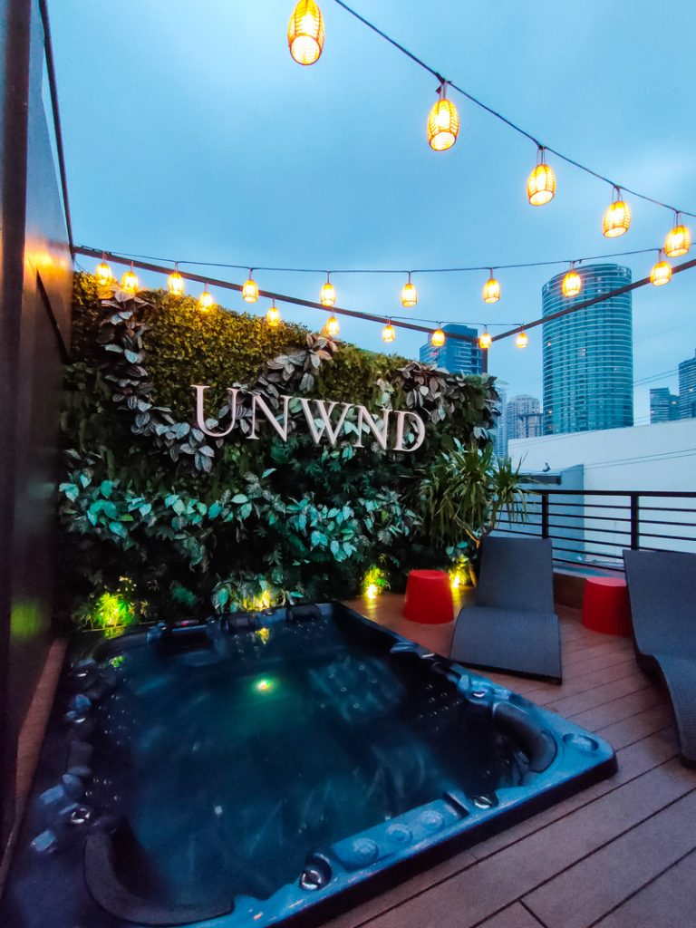 roof deck and jacuzzi at night