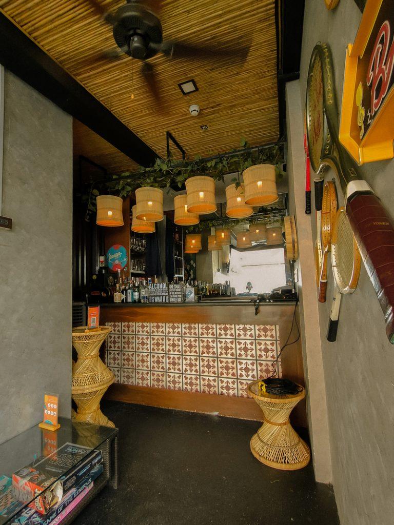 boho style mini bar