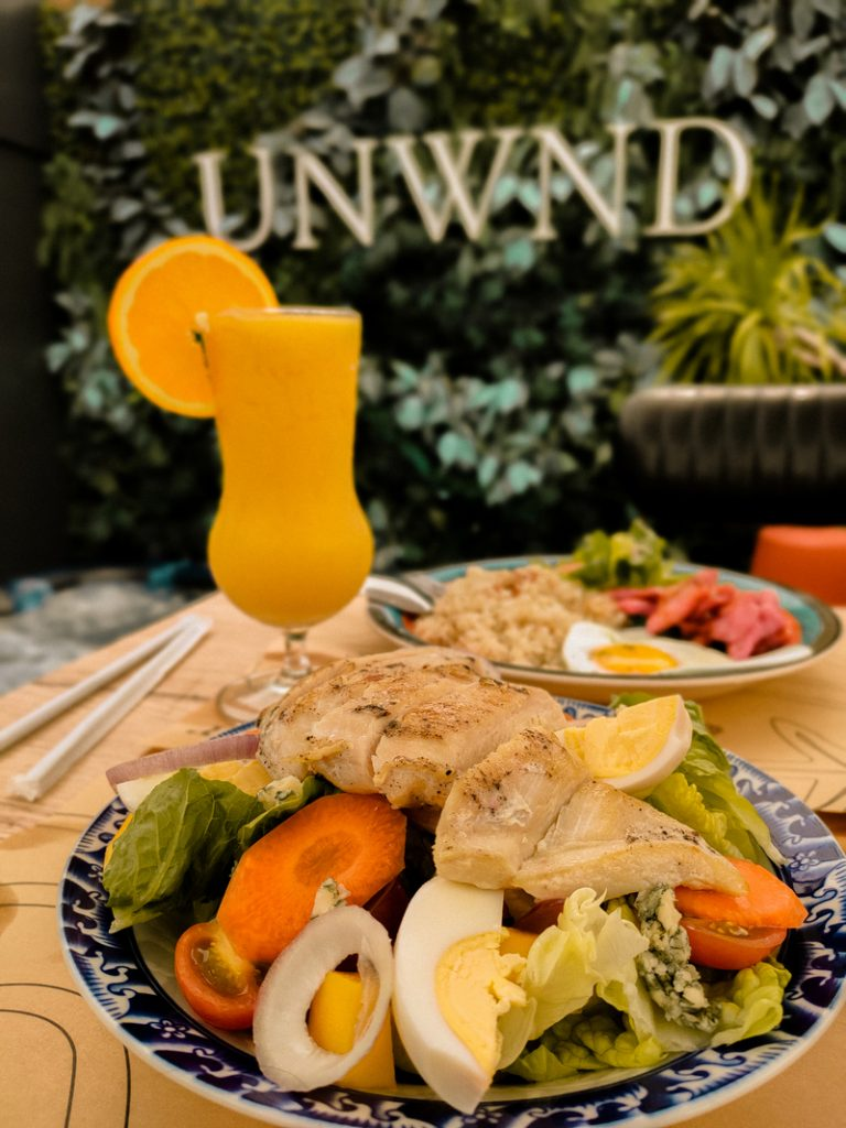 delicious food at unwnd lux hostel in makati